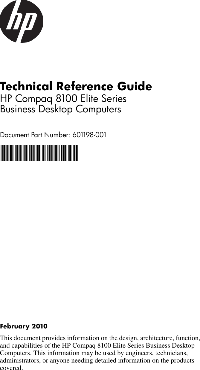 Hp Compaq 8100 Elite Small Form Factor Pc Reference Guide Technical