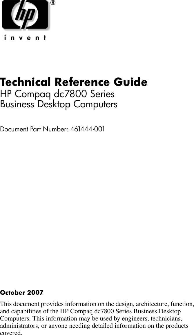 Hp Compaq Dc7800 Quick Reference Guide ManualsLib Makes It