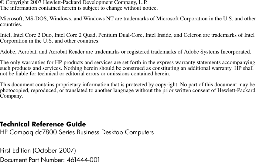 Hp Compaq Dc7800 Quick Reference Guide ManualsLib Makes It Easy To