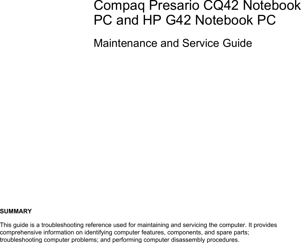 Hp Compaq Presario Cq42 203Au Notebook Pc Maintenance And
