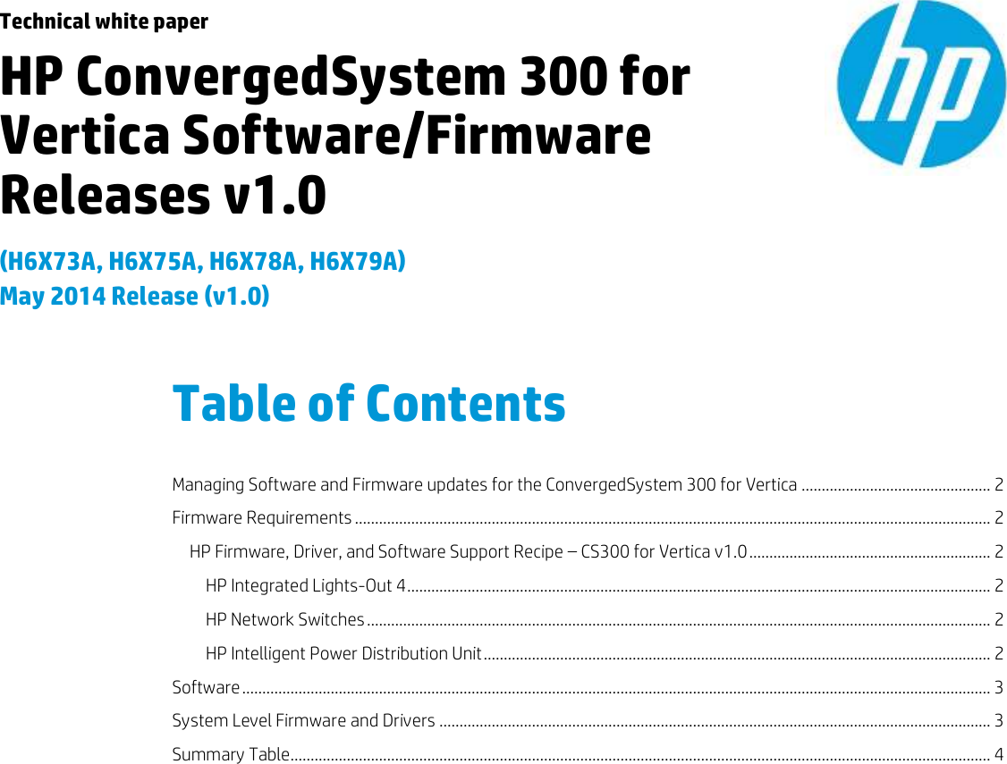 Hp Convergedsystem 300 For Vertica White Paper Software/Firmware