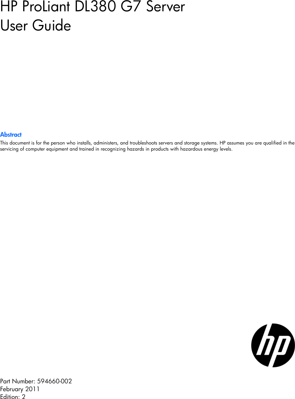 Hp Dl380 G7 Users Manual ProLiant Server User Guide