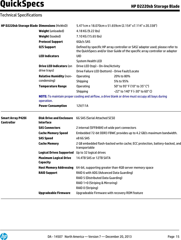 Hp Hewlett Packard D2220Sb Qw915A Users Manual Storage Blade