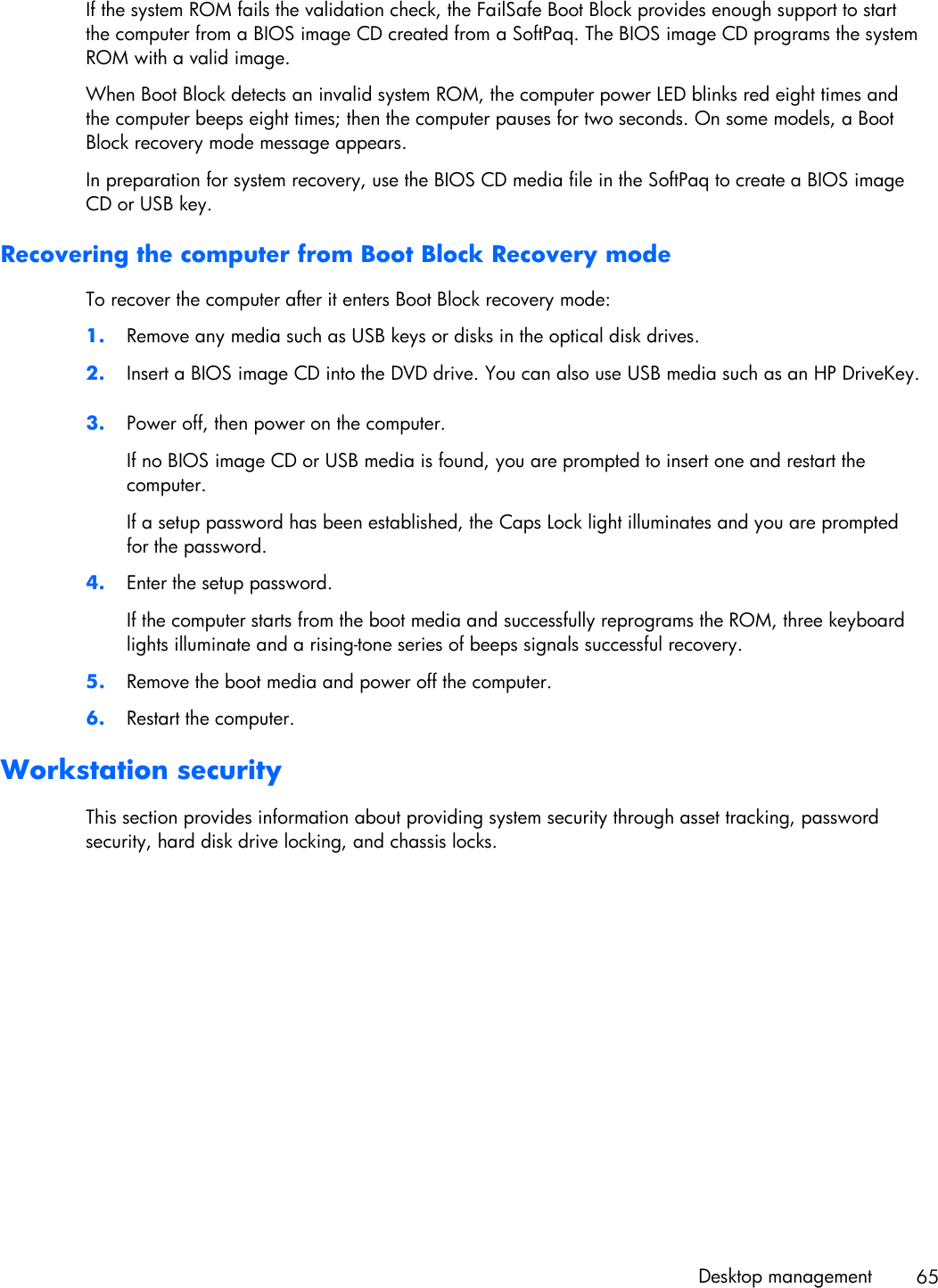 Boot Block Recovery Jumper Hp