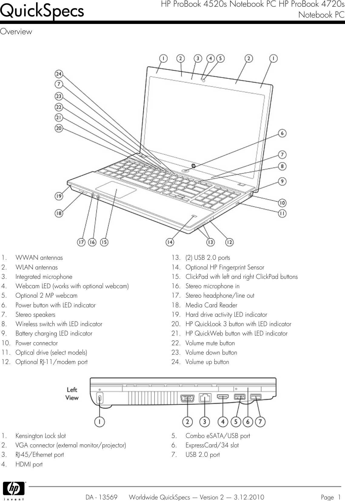 Hp Probook 4720S Users Manual 4520s Notebook PC