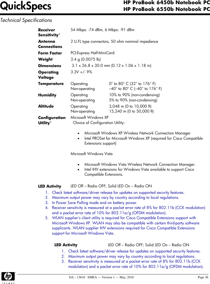 Hp Probook Notebook Pc 6450B Users Manual