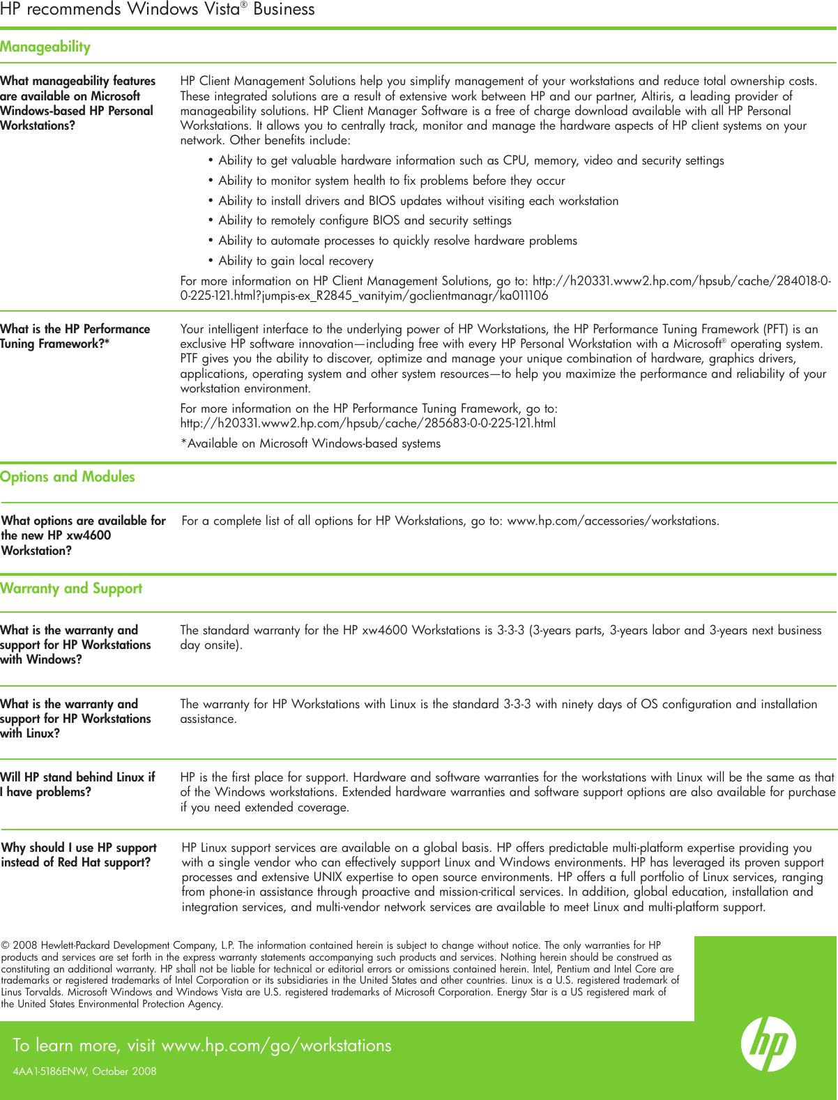 Hp Xw4600Workstation Xw4600 Users Manual FAQ_oct08_101208