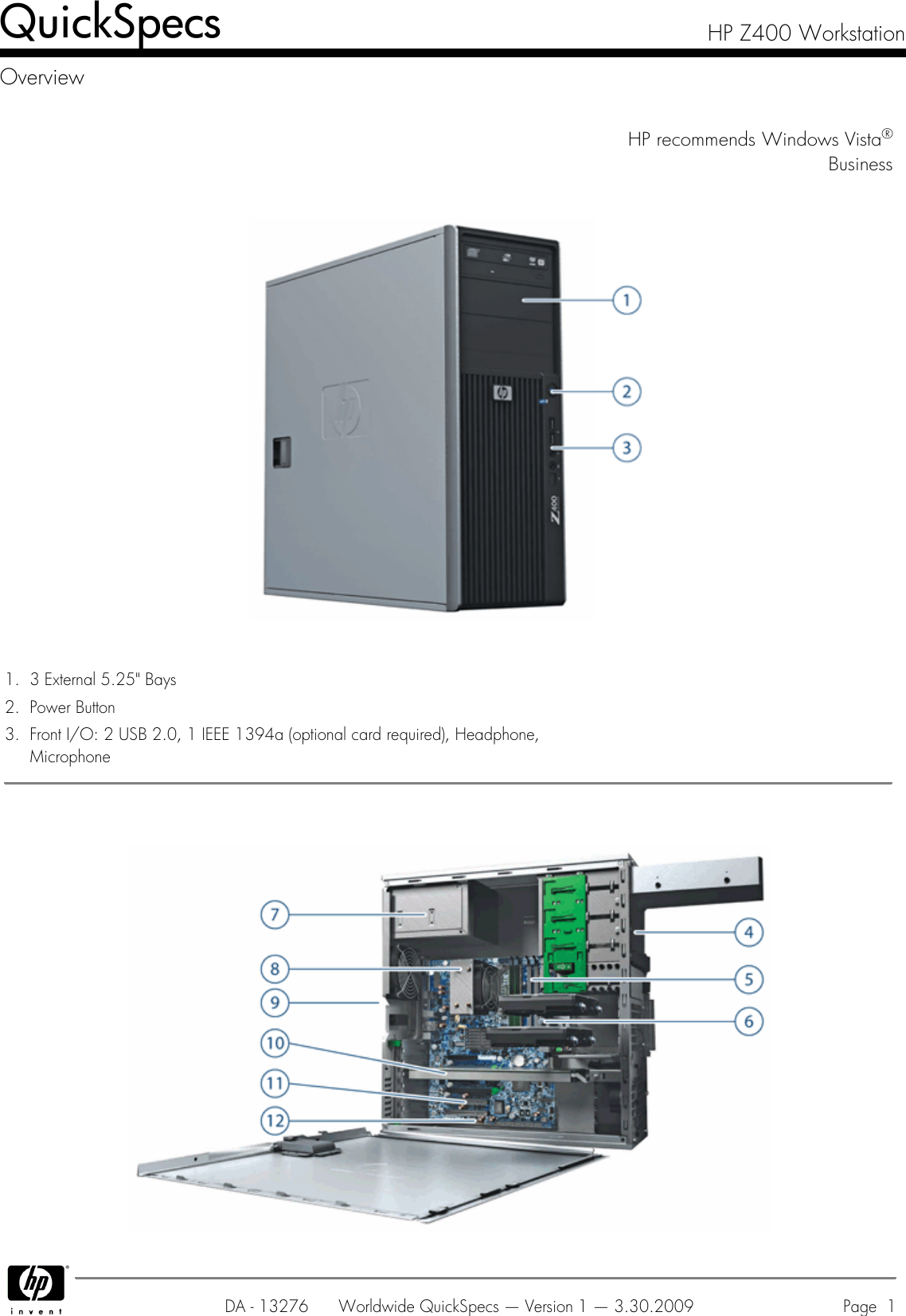 Hp Z400 Users Manual Workstation