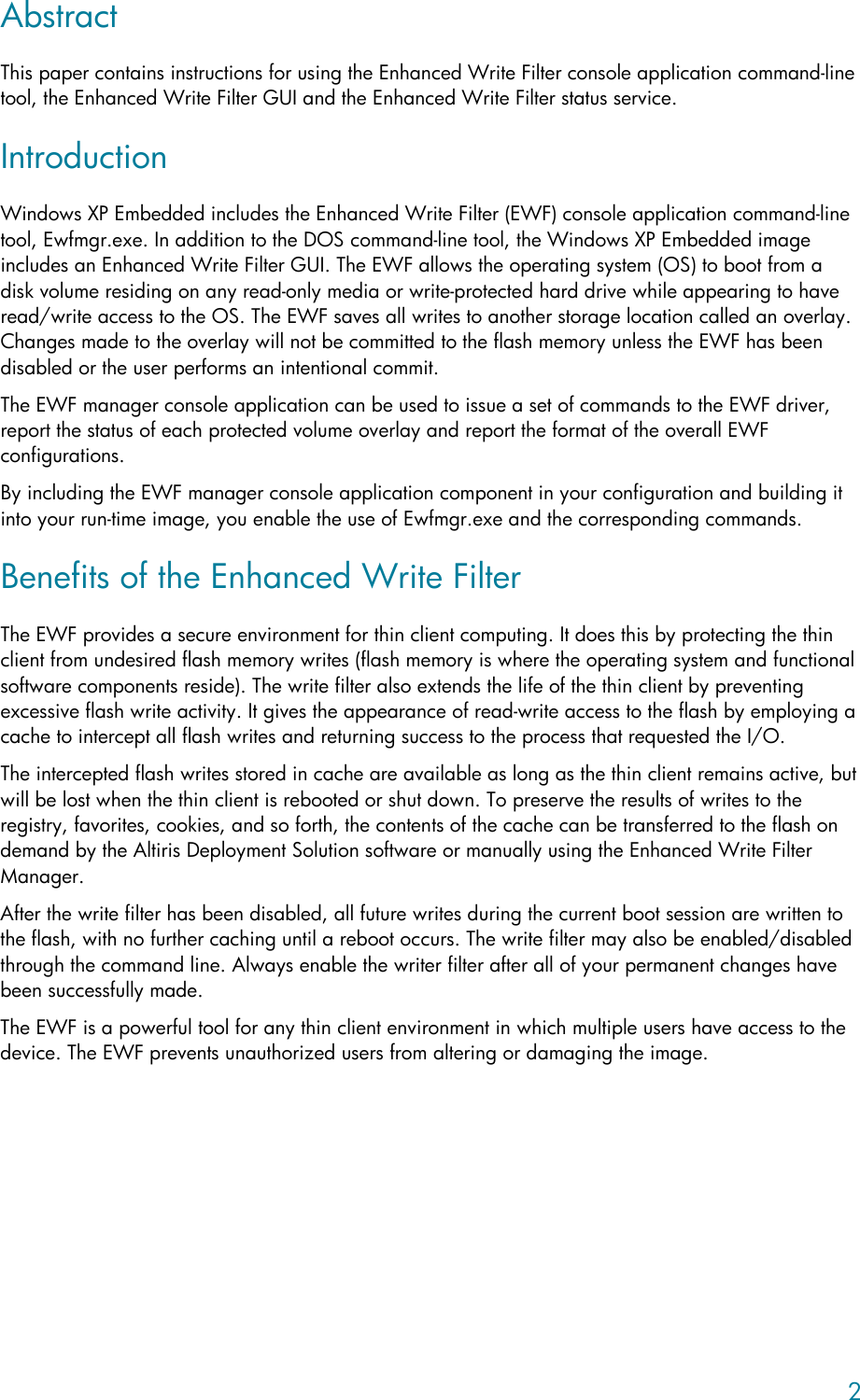 Hp Laptop T5630 Users Manual Using The Enhanced Write Filter