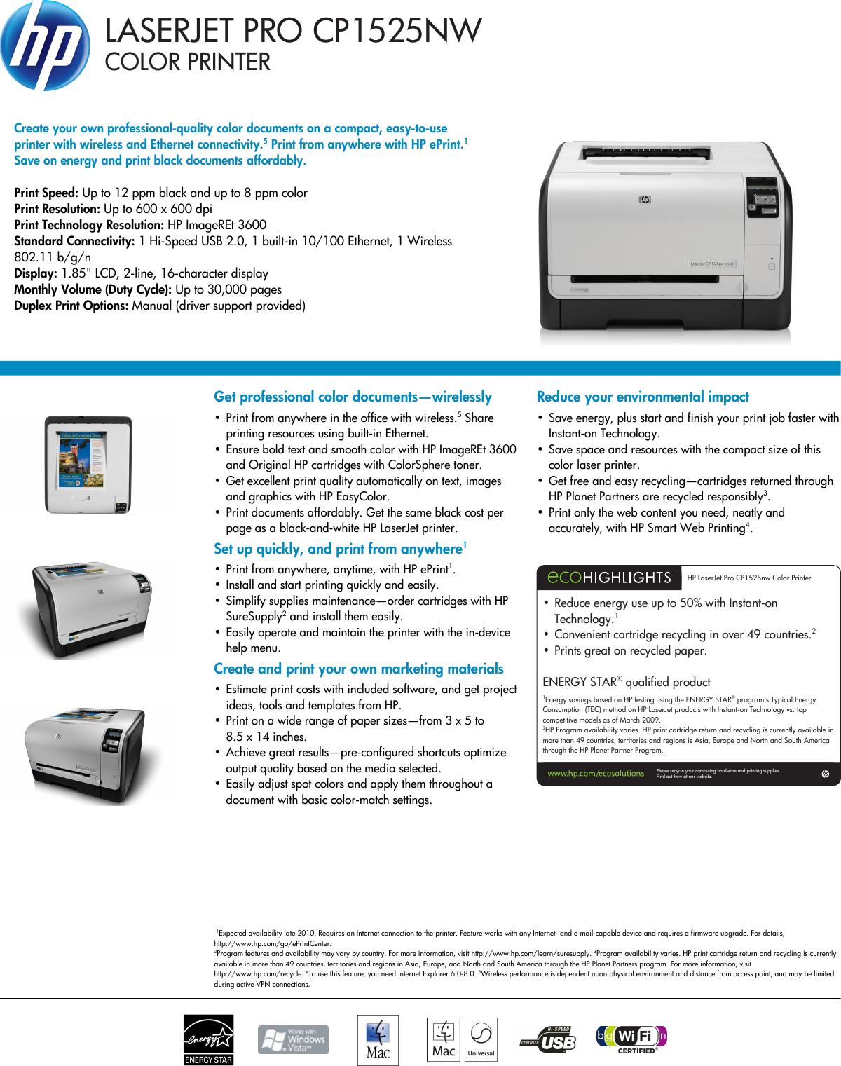 Hp Laserjet Pro Cp1525Nw Users Manual Datasheet