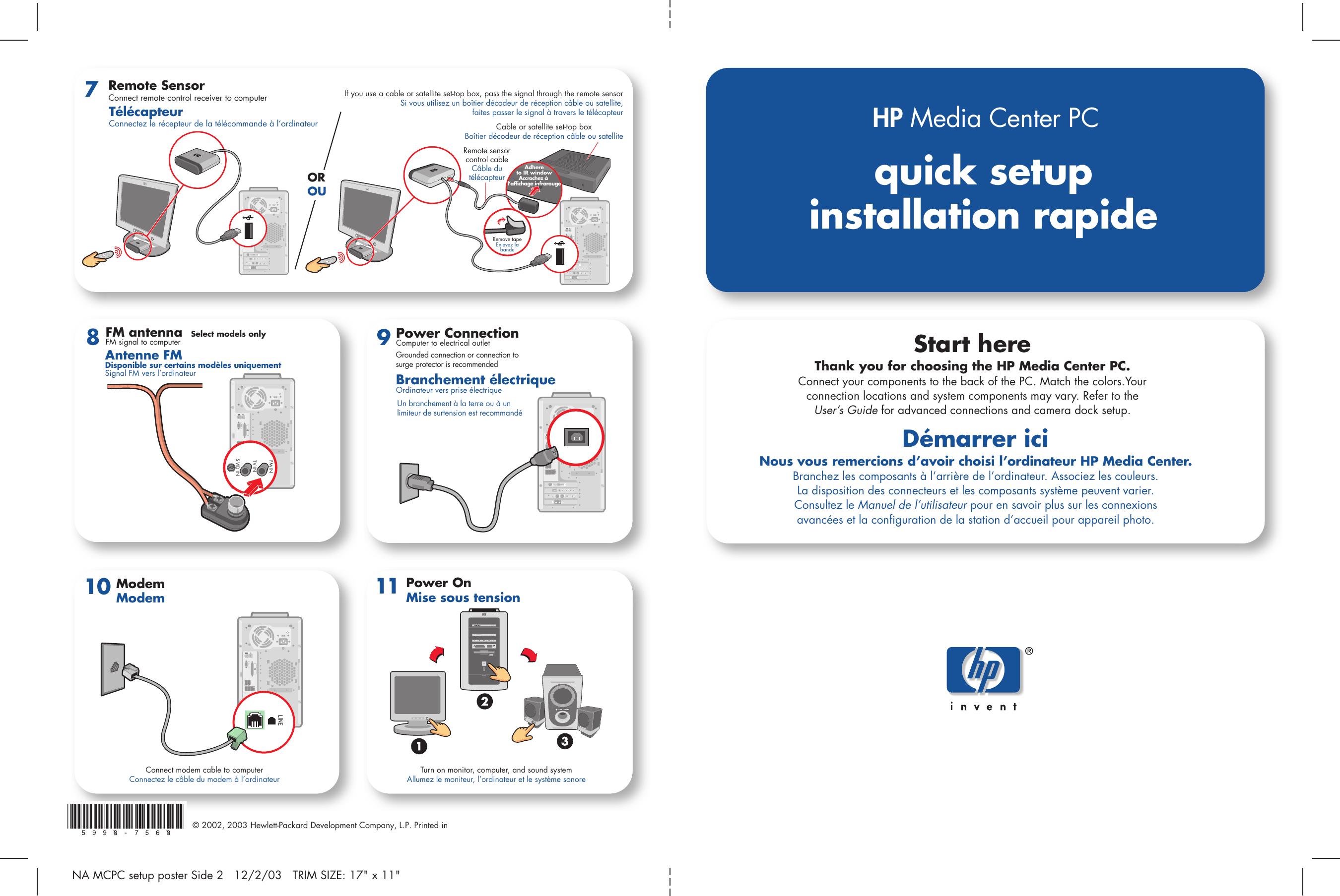 Hp Media Center M470n Desktop Pc Quick Setup Guide Sa411037 1