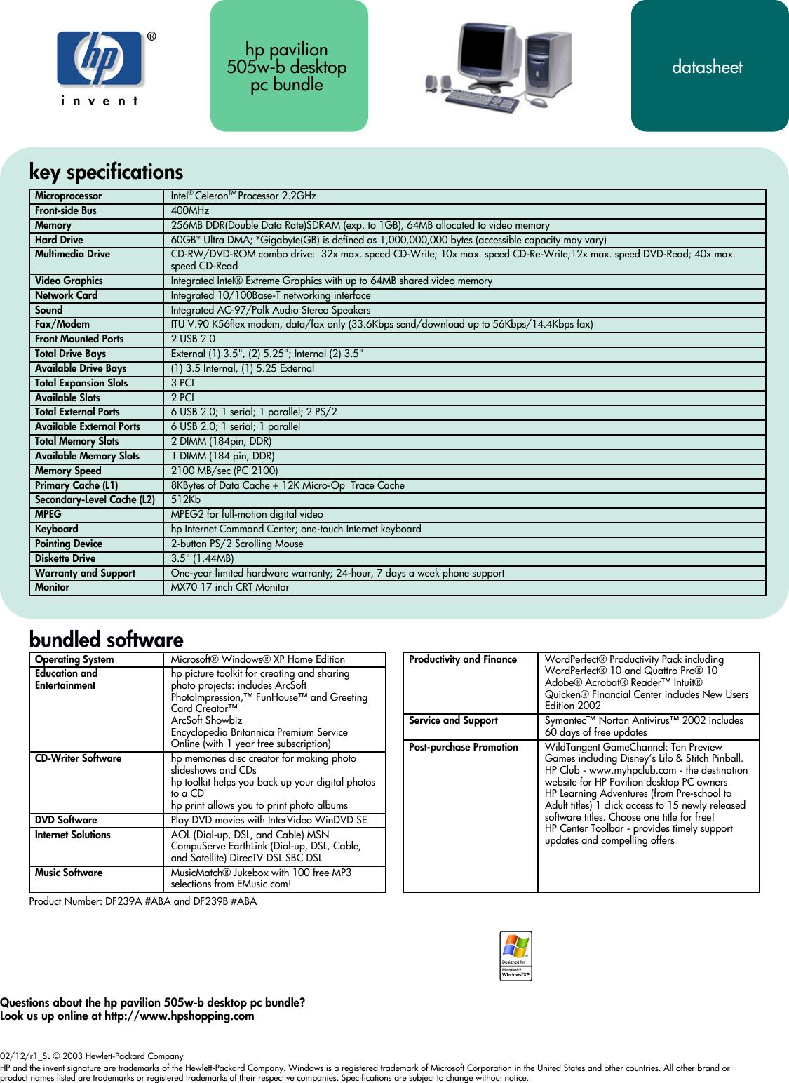 Hp Pavilion 505W Desktop Pc Us Specifications Data Sheet