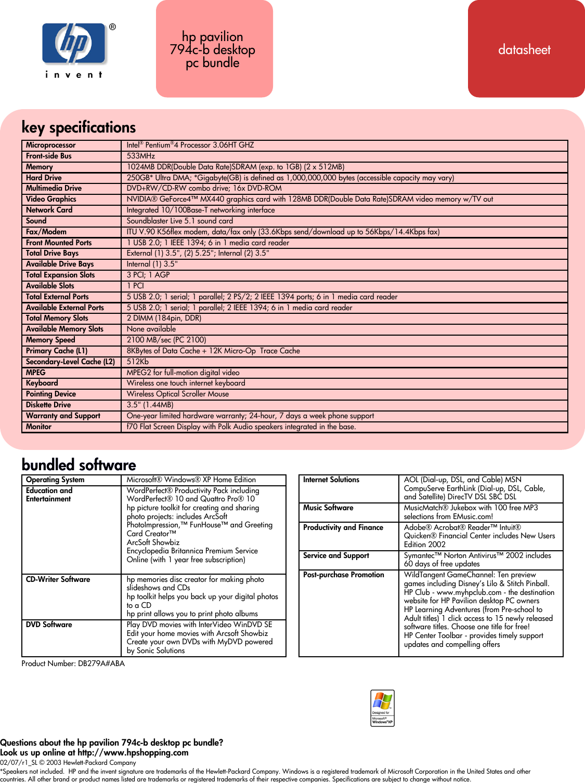 Hp Pavilion 794C Desktop Pc Us Can Specifications Data Sheet