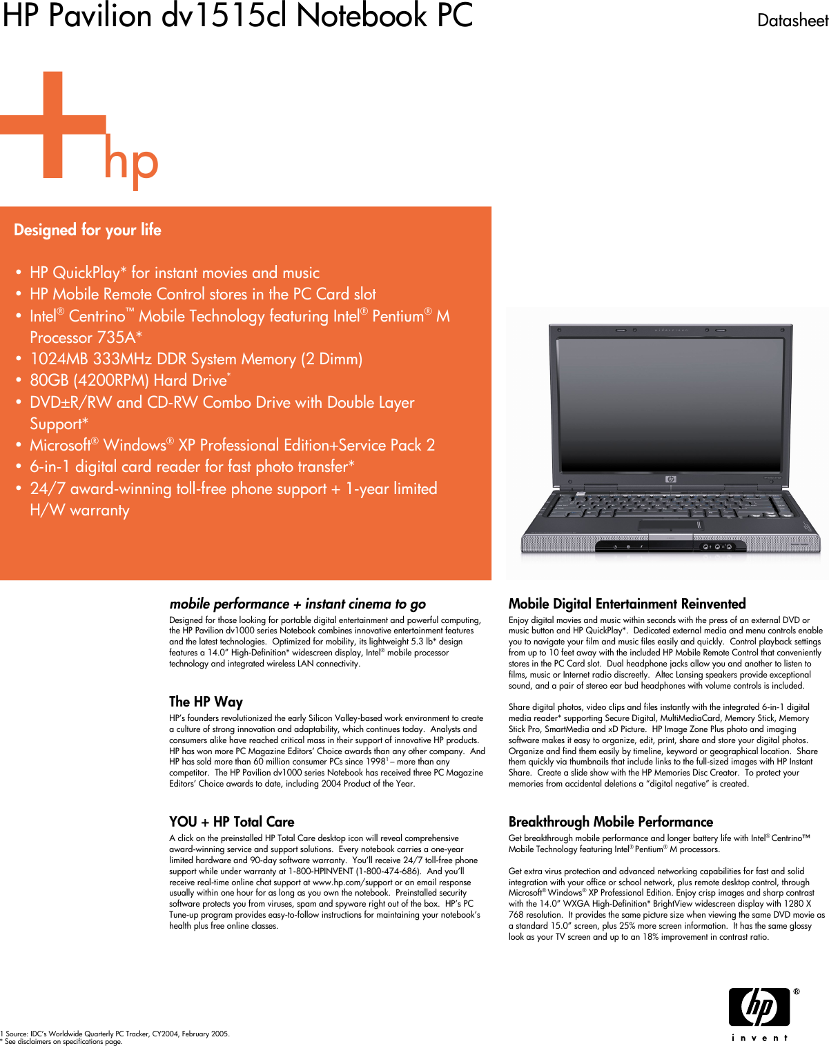 Hp Pavilion Dv1515Cl Users Manual Data Sheet