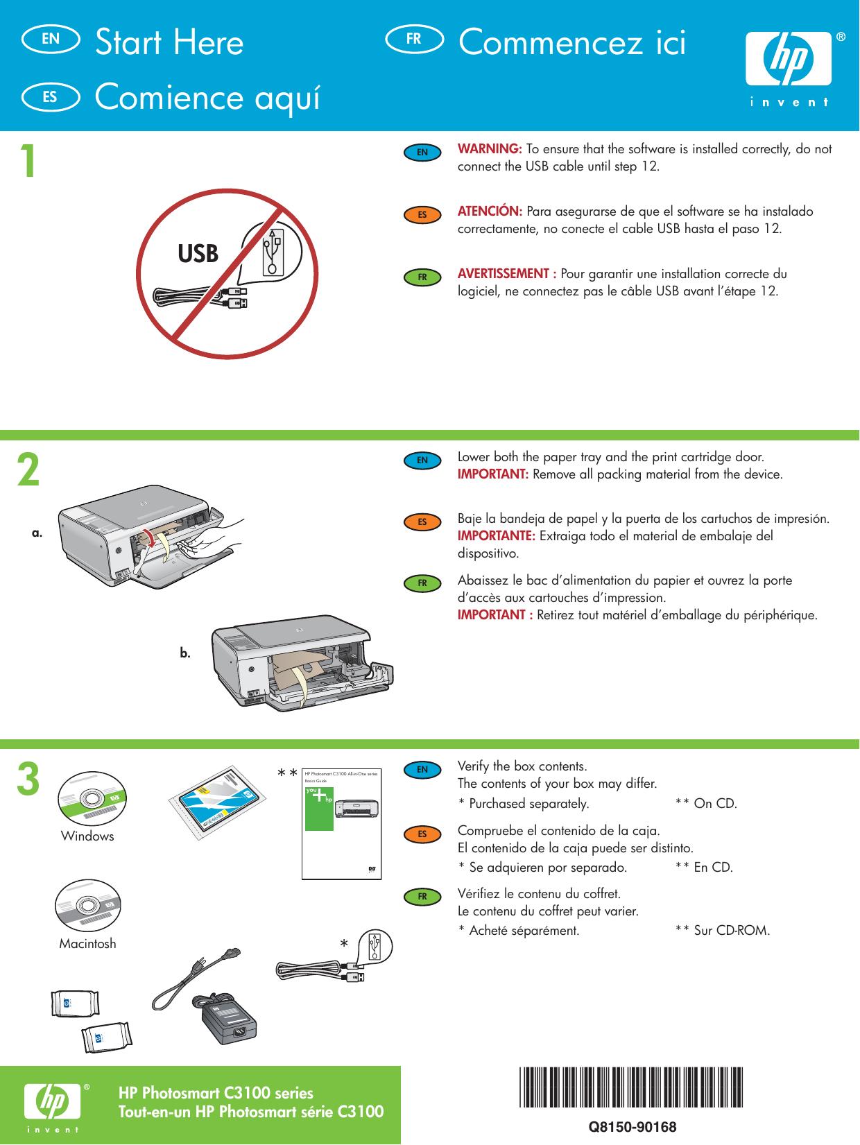 Hp Photosmart C3125 All In One Printer Setup Guide Q8150 90168_EN_ES_FR