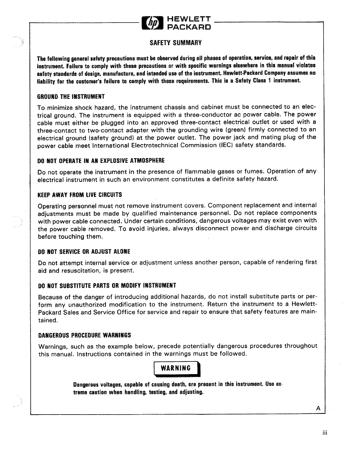 Hp Portable Generator 3314A Users Manual