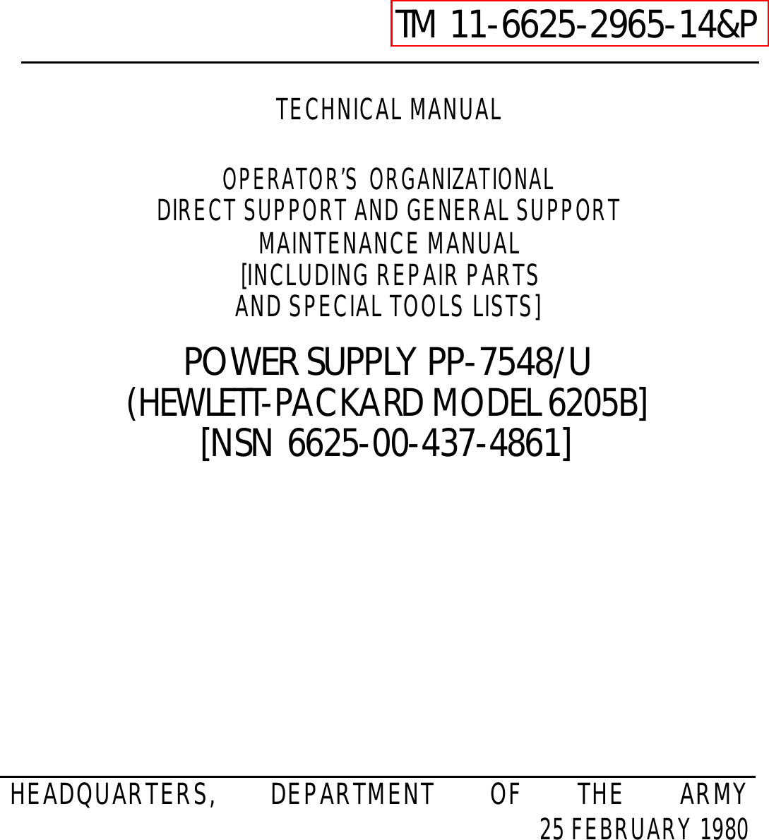 Hp Power Supply 6205b Users Manual Tm 11 6625 2965 14p Block Diagram Led Lighting Sbd Ticom