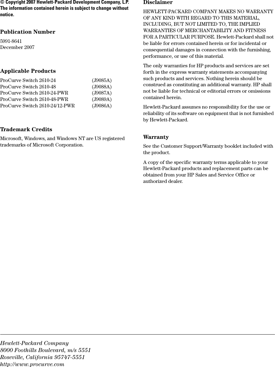 Hp Procurve 2610 Pwr Users Manual Advanced Traffic