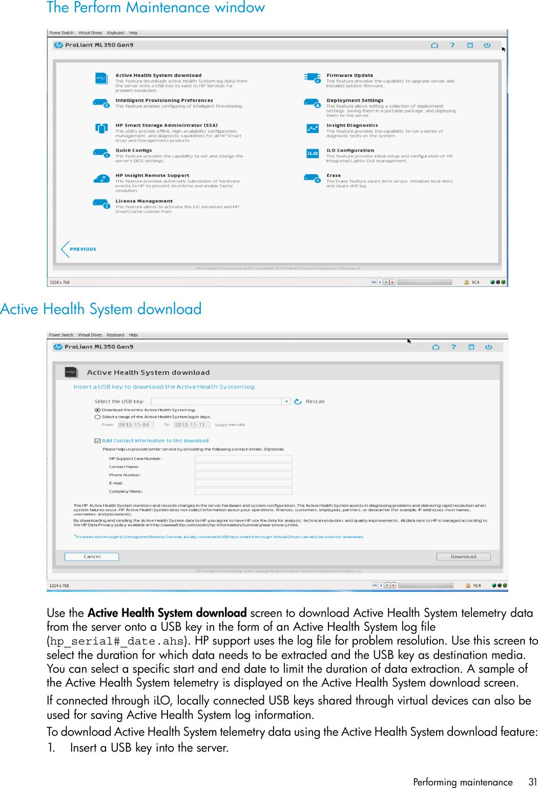 Hp Proliant Xl230A Gen9 Server Users Manual Intelligent Provisioning