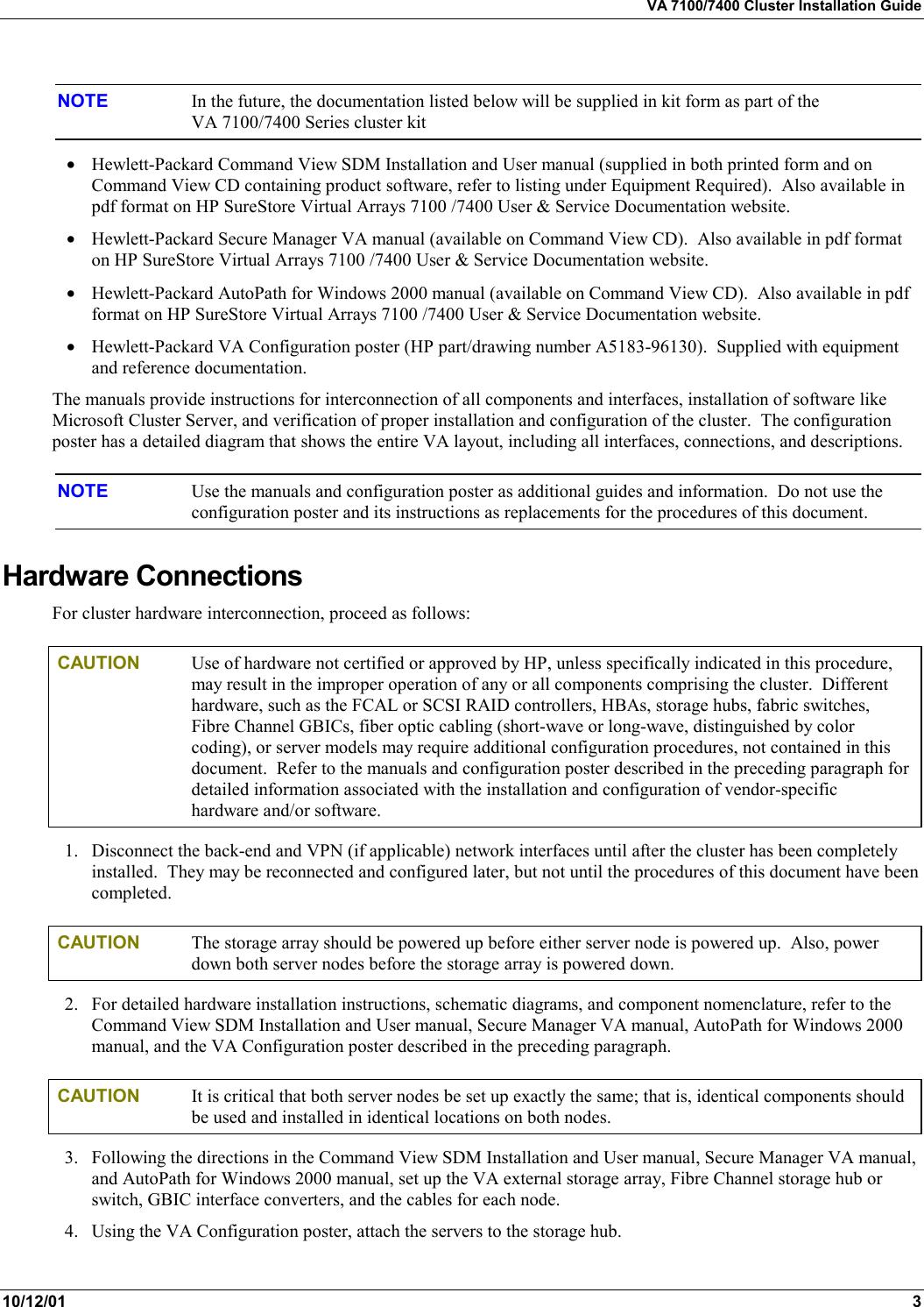 Hp Va 7100 Users Manual Cluster 1 Hewlett Packard FC60