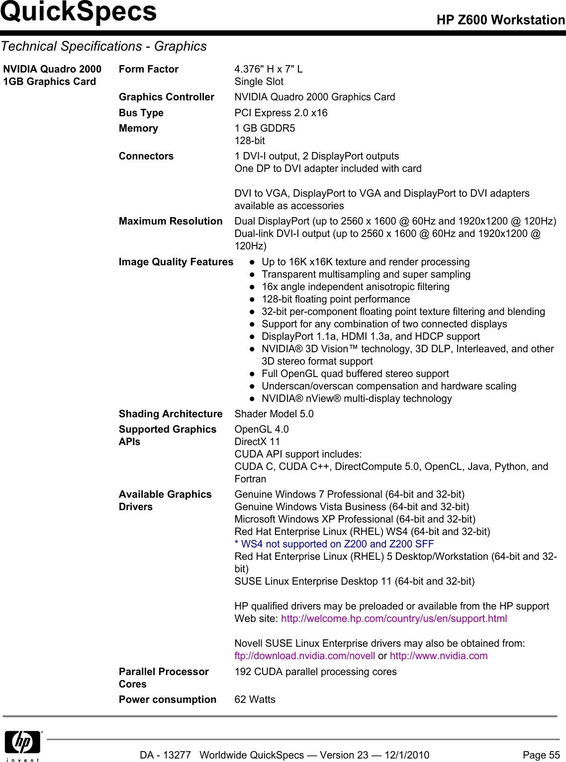 Hp Z600 Users Manual Workstation