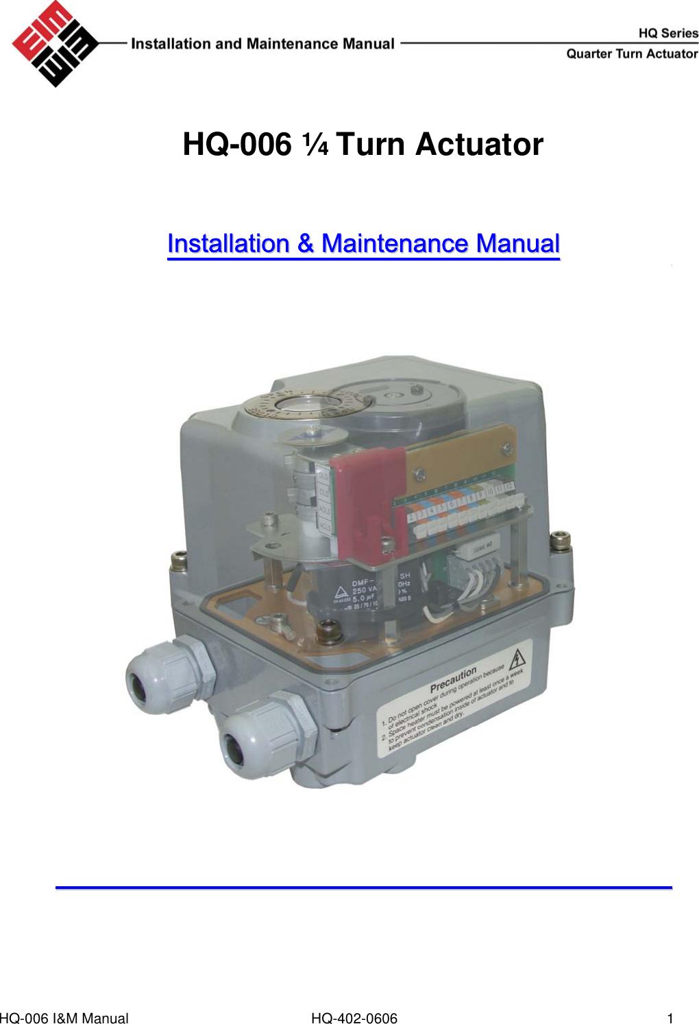 Hq Automobile Parts 402 0606 Users Manual Eim Actuator Wiring Diagram
