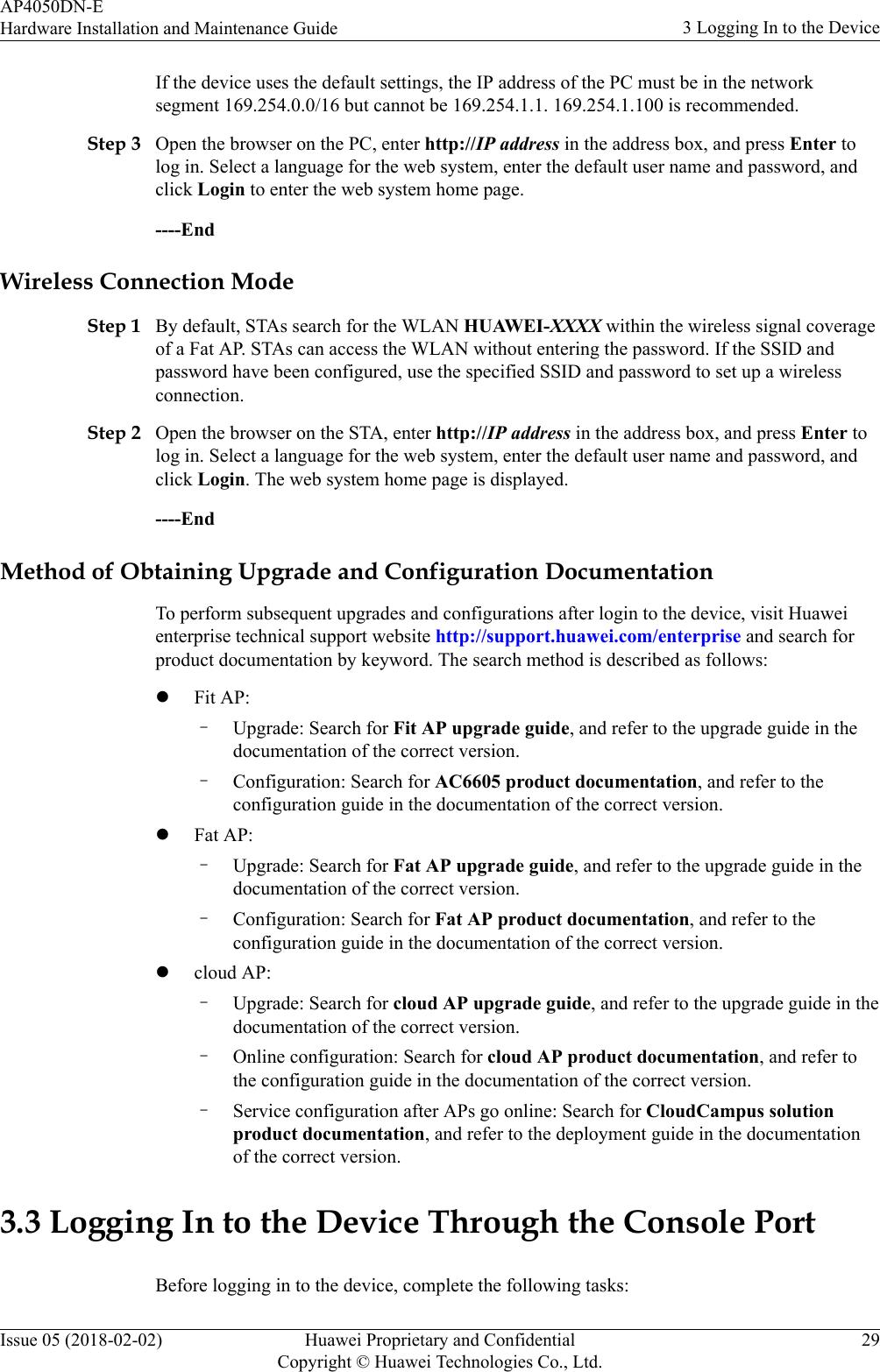 Huawei Technologies AP4050DN-E Wireless LAN Access Point User Manual