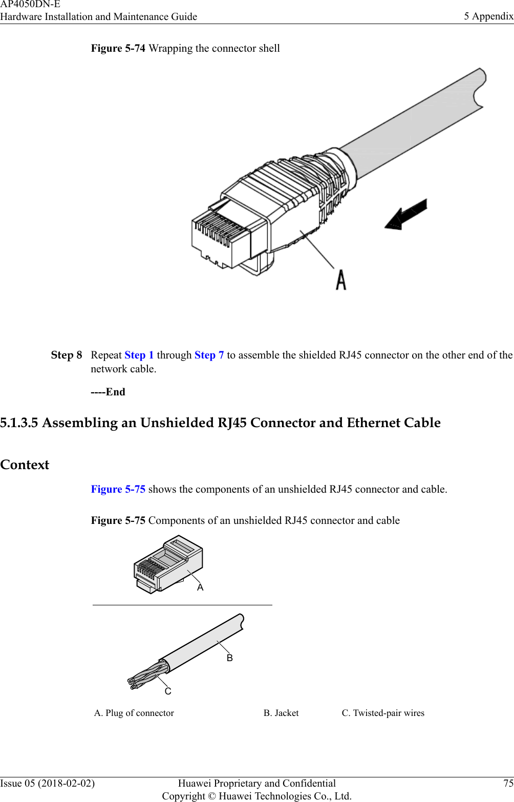 Huawei Technologies Ap4050dn E Wireless Lan Access Point User Manual Rj45 Wiring Diagram Wikipedia Figure 5 74 Wrapping The Connector Shell Step 8 Repeat 1 Through 7