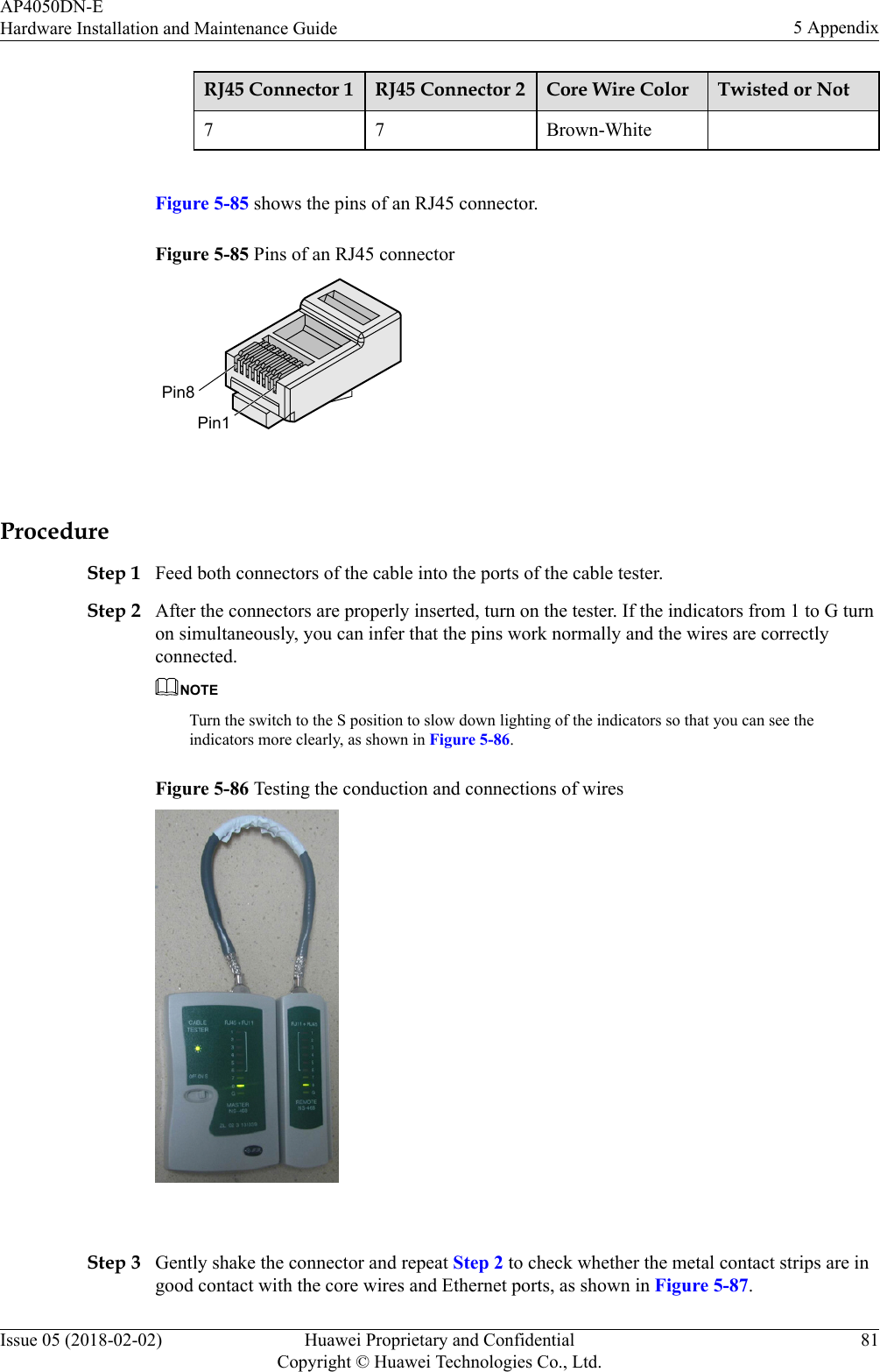 Huawei Technologies Ap4050dn E Wireless Lan Access Point User Manual Rj45 Wiring Diagram Wikipedia Connector 1 2 Core Wire Color Twisted Or Not7 7 Brown White