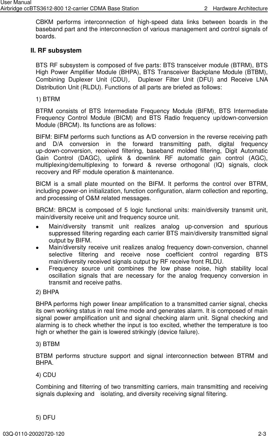 Huawei Technologies CBTS3612-800 CDMA Base Station User