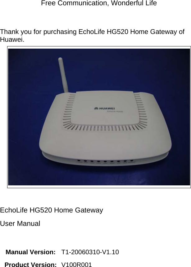 Huawei Technologies HG520B2 Home Gateway User Manual 00 1 cover
