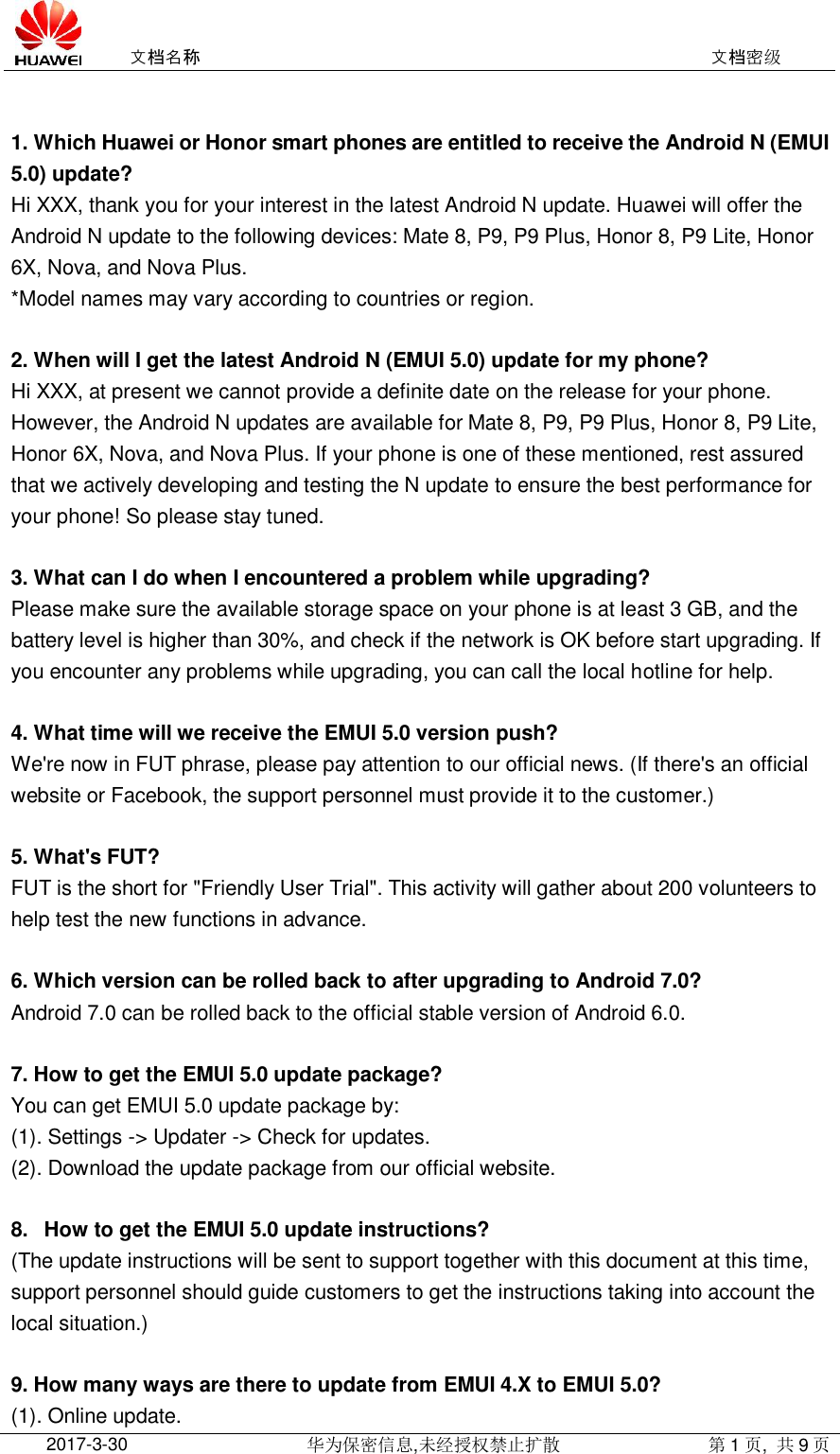 Huawei Android 7 0 Upgrade(Android N Update) Related FAQ