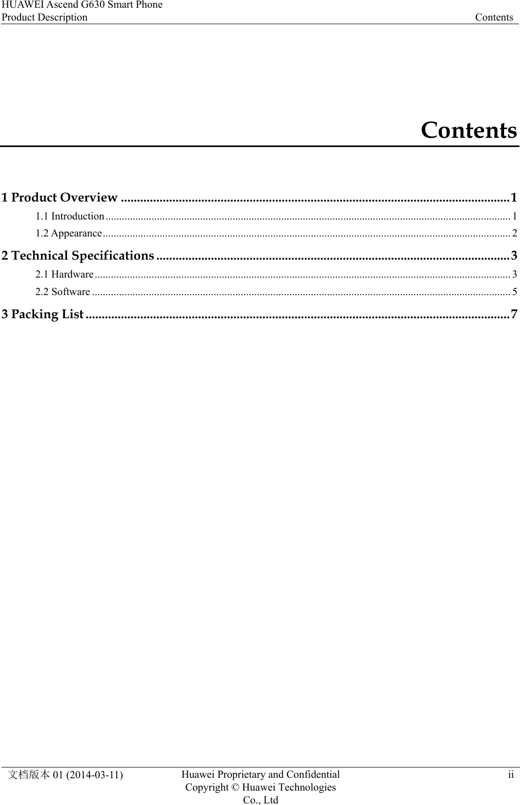 Huawei Ascend G630(G630 U10) Product Description (V100R001