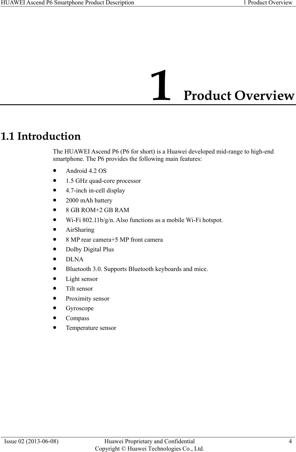 Huawei Ascend P6 U06 Smartphone Product Description