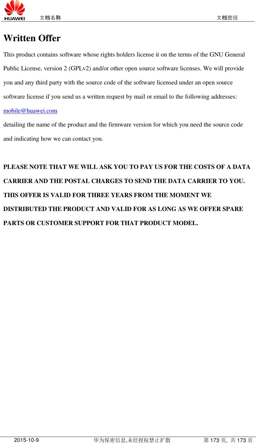 Huawei E3272E3276 OPEN SOURCE SOFTWARE NOTICE(stick)