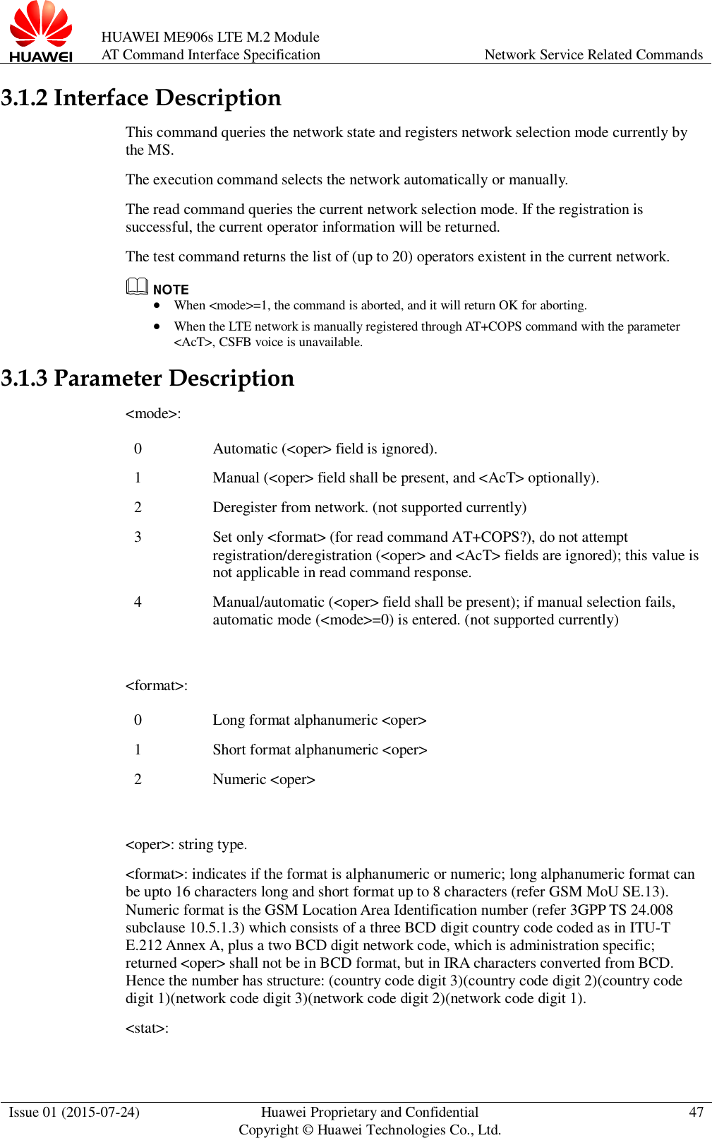 Huawei AT Command Interface Specification ME906s LTE