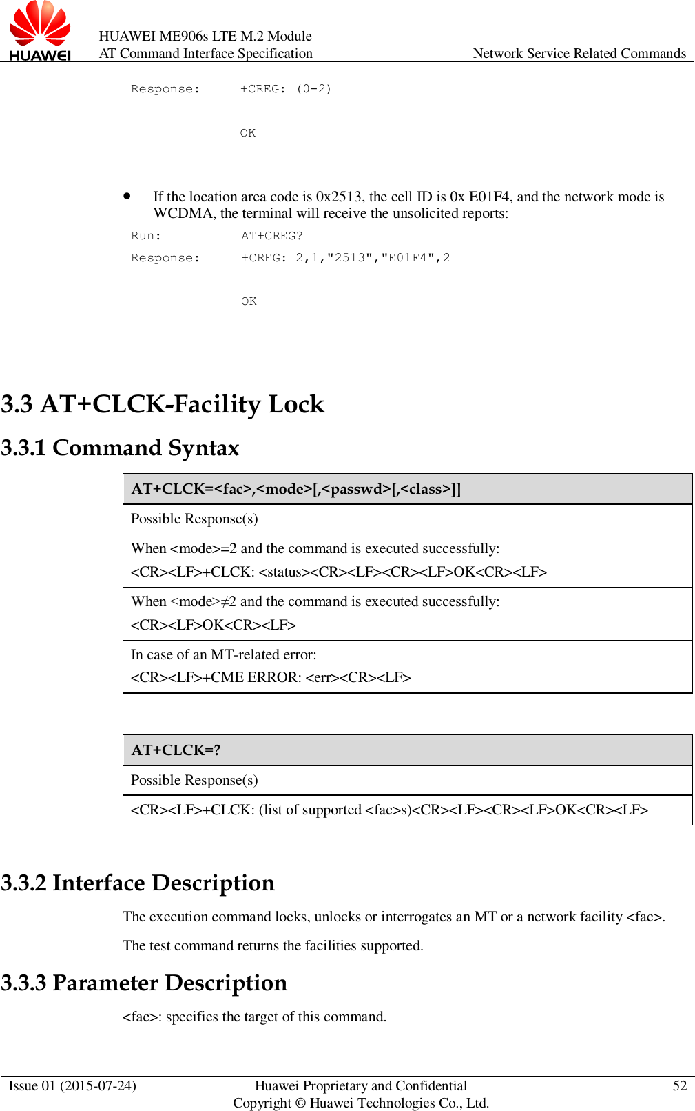 Huawei AT Command Interface Specification ME906s LTE Module