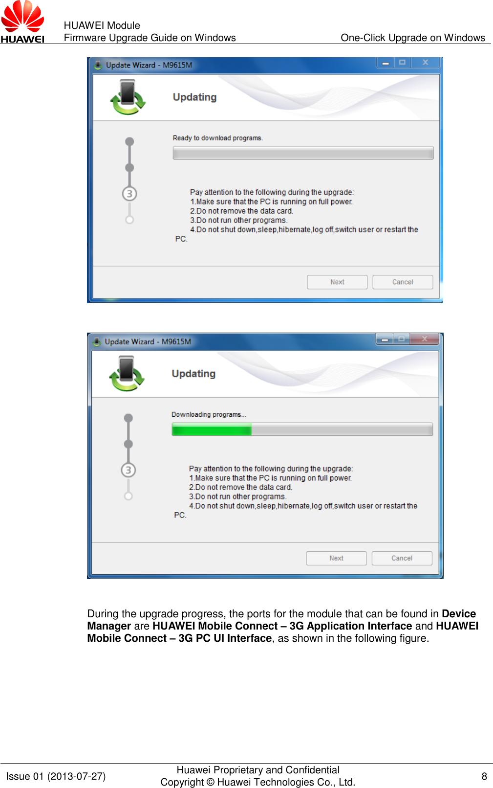 Huawei Module Firmware Upgrade Guide On Windows (V100R001 01