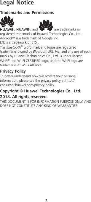 Huawei Nova 3i Quick Start Guide(INE LX2,01,en,India,EMUI8 2