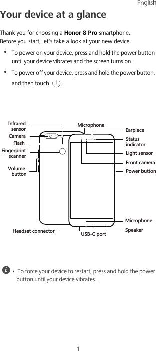 Huawei Map Honor 8 Pro Quick Start Guide (DUK L09, 01, WEU)