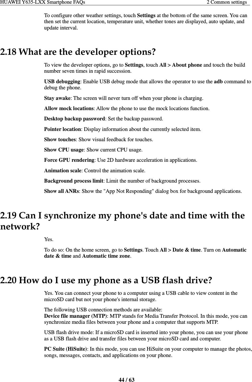 Huawei Y635 L01&L02&L03&L21 Smartphone FAQs V1 0 V1