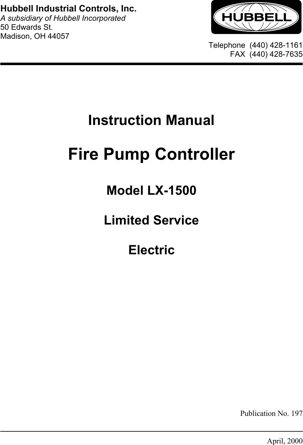 Page 1 of 12 - Hubbell Hubbell-Fire-Pump-Controller-Lx-1500-Users-Manual- LX-1500 Manual  Hubbell-fire-pump-controller-lx-1500-users-manual