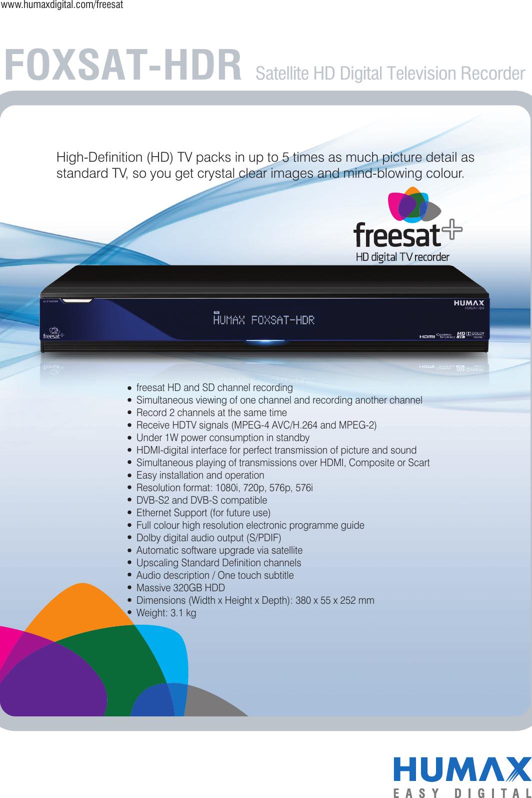 Humax Foxsat Hdr Users Manual HDR_leaflet_1
