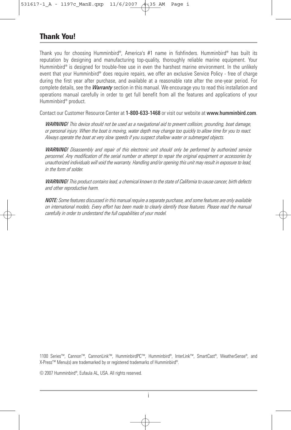 Humminbird 1197C Si Users Manual 531617 1_A 1197c_ManE qxp