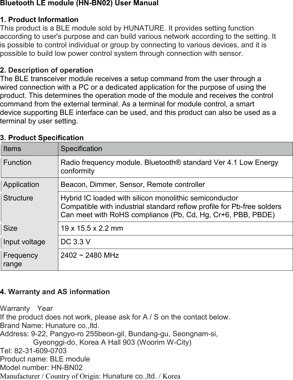 Hunature HN-BN02 BLE Module User Manual Rev2 HN BN02 Manual