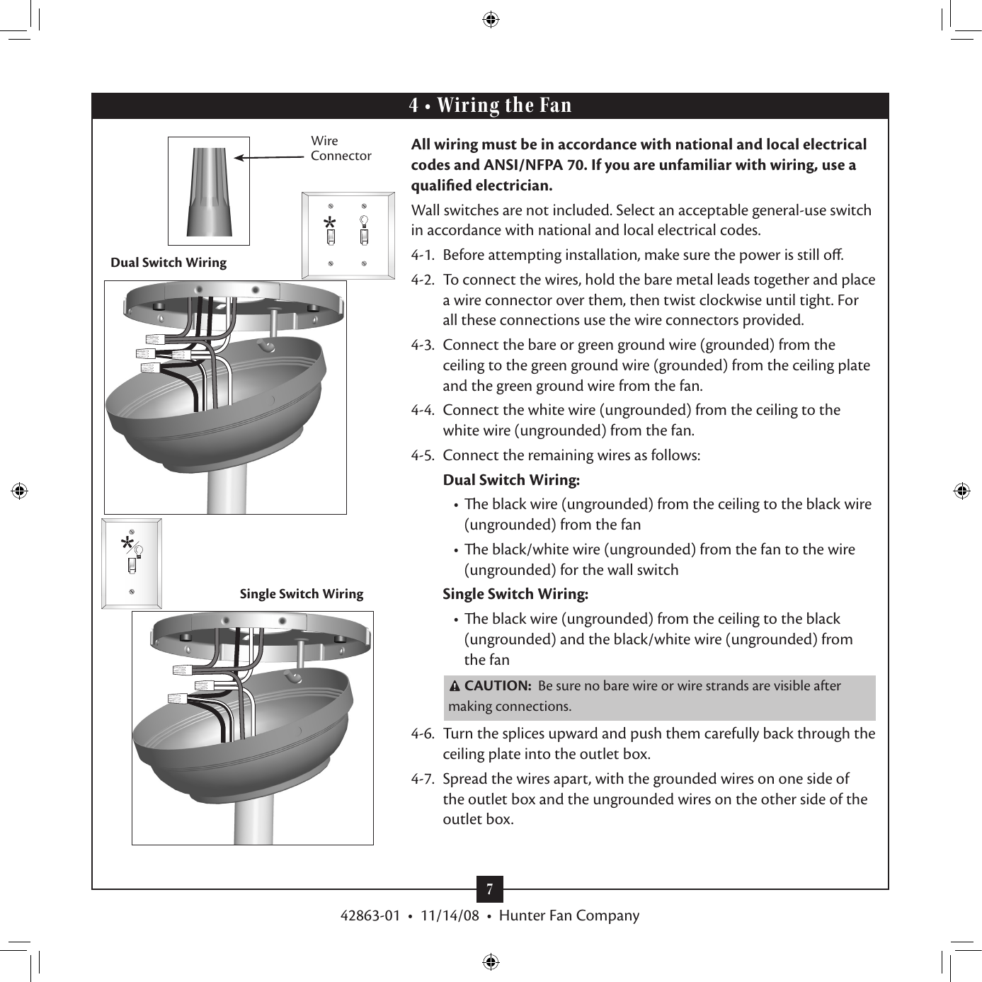 Hunter Fan 42863 01 Users Manual Wiring Ceiling Dual Switch Page 7 Of 12