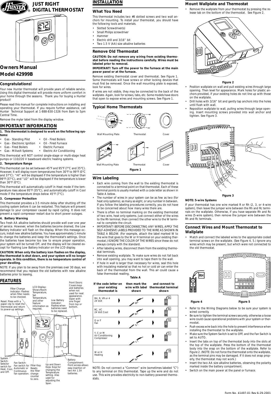 Hunter Thermostat 42999B Wiring Diagram from usermanual.wiki
