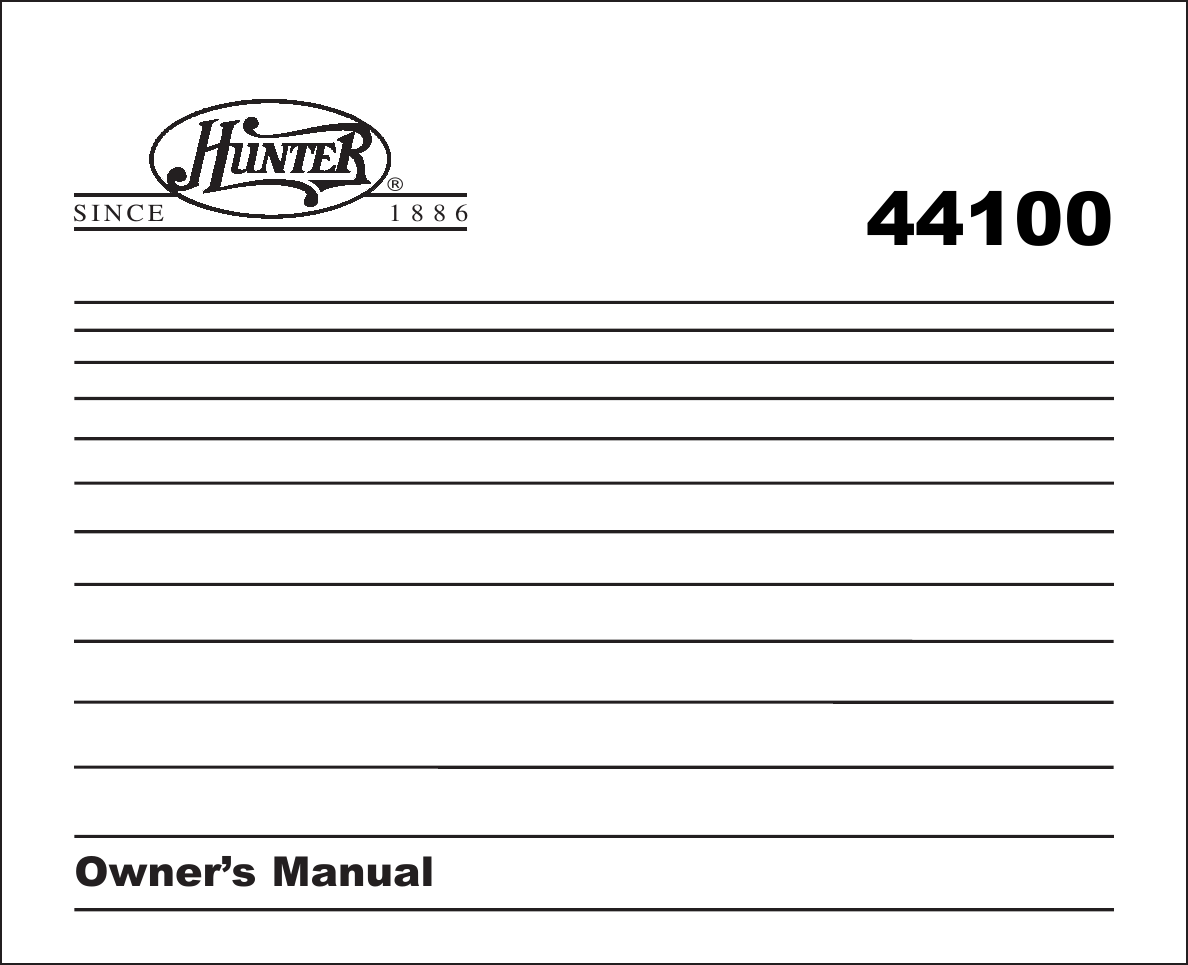 Hunter 40170 Thermostat Wiring Diagram Fan Diagrams 44550 44100b 2wire Circuit 44100a Owner S Manual 44100 Rh