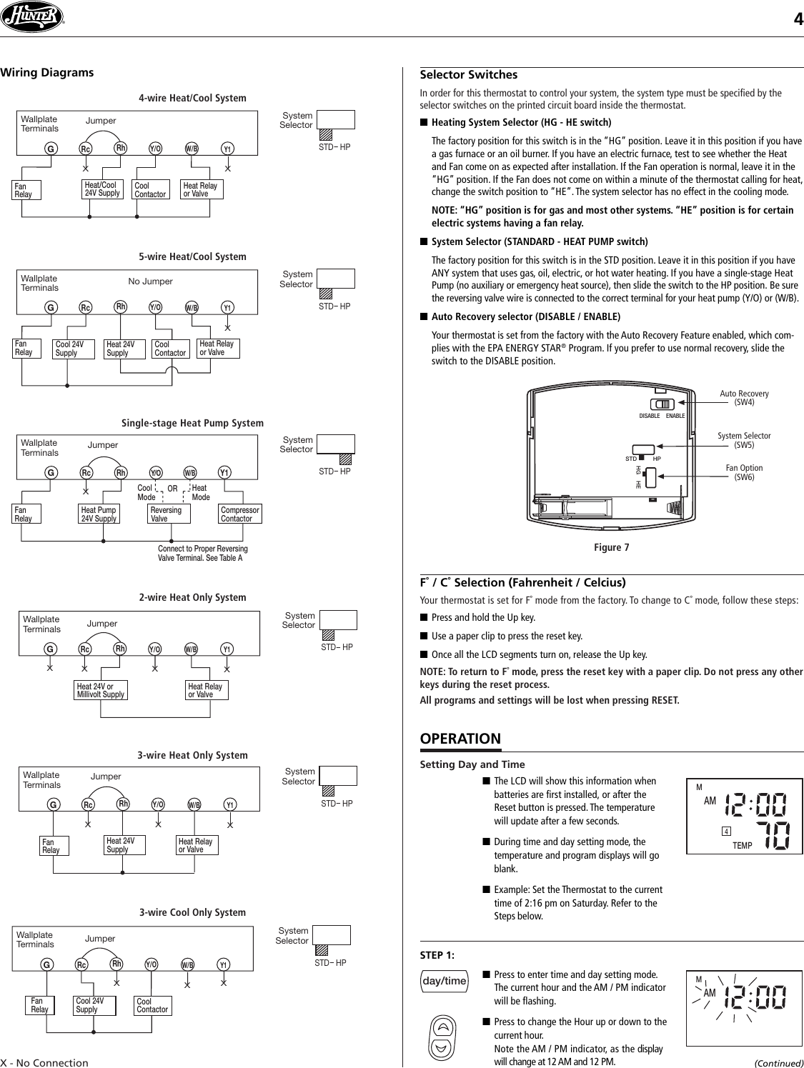 Hunter Thermostat 44260 Wiring Diagram 2wire Schematic Diagrams Fan Users Manual 41640 Web Pmd Honeywell Wi Fi