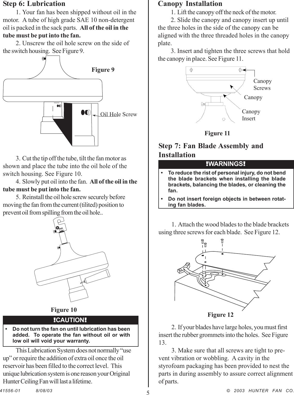 Hunter Fan Ceiling 22360 Users Manual 41556 01rev8 8 03